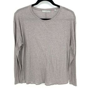 Vince Brown Long Sleeve Solid Pullover T Shirt Top